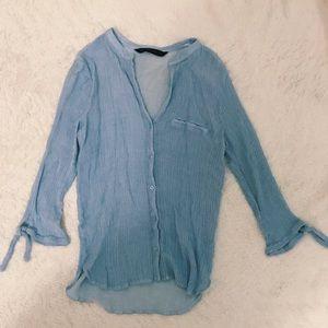 Zara blue and white stripped button down